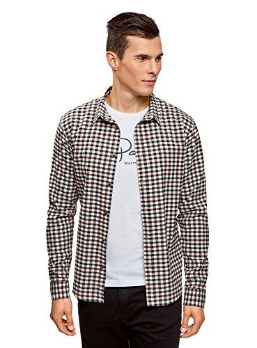 oodji Ultra Hombre Camisa a Cuadros Recta, Multicolor, сm 42,5 / ES 52 / L