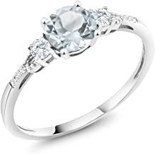 Gem Stone King 10K White Gold Sky Blue Aquamarine White Created Sapphire and Diamond Accent 3-stone Engagement Ring 0.90 cttw (Available 5,6,7,8,9)