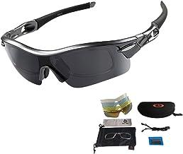 Sport zonnebril fietsbril sportbril met UV400 5 wisselglazen incl. zwarte gepolariseerde lens voor outdooractiviteiten zoa...