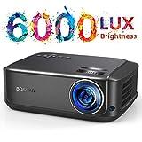 Beamer für Heimkino Office 1080P Full HD, 6000 Lumen Multimedia LCD Video Projektor LED 50000 Stunden mit max 200' Display, Verbindung mit HDMI VGA SD USB AV Gerät