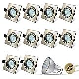 10er Set Eckig Einbaustrahler LED Einbauspot GU10 5W 18PCS High Power LEDs SMD + Edelstahl gebürstet Schwenkbar Einbaurahmen + Naturalweiß Einbauleuchten Strahler + GU10 Fassung