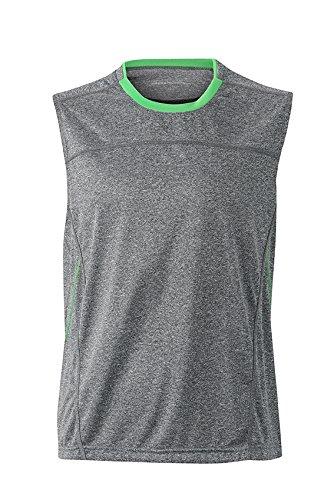 2Store24 Men's Running Tank in Grey-Melange/Green Taille: XXL