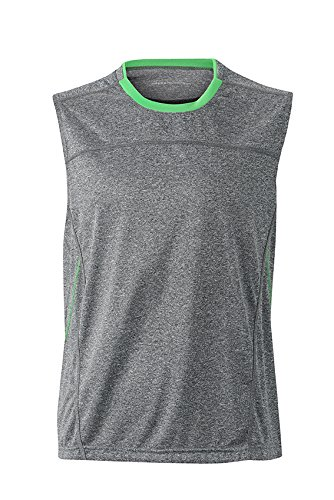 2Store24 Men's Running Tank in Grey-Melange/Green Taille: XXL