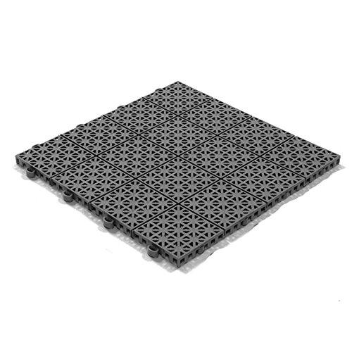 Stecksystem Kunststofffliesen Hestra Universa   Bodenfliesen Kunststoff   Bodenplatten   Klicksystem Fliesen   11 Fliesen à 30 x 30 cm   39,90 € (40,30 €/m²)   dunkelgrau