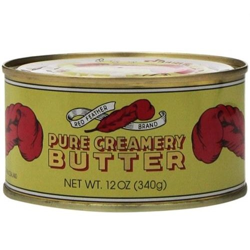 Red Feather Canned Butter A real butter from new Zealand-100% pure no artificial colors or flavors-Great For Hurricane Preparedness Emergency Survival Earthquake Kit-(2 Cans/12Oz Each)