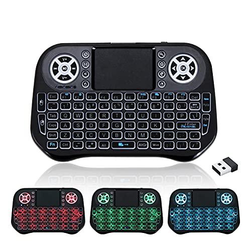 GECENinov Mini Tastatur Wireless, USB Wireless Keyboard mit Touchpad, Mini 2,4GHz Farben Beleuchtet Backlit Tastatur Kabellos drahtlose Fernbedienung, für Smart TV, PC, TV Box, IPTV…