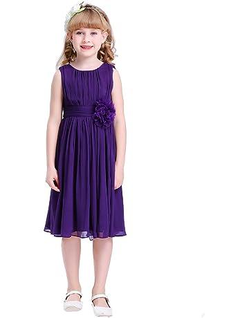 fd728b342b94a Bow Dream ガールズドレス 女の子ドレス ワンピース 帯に花付き フォーマルドレス シフォン 発表会