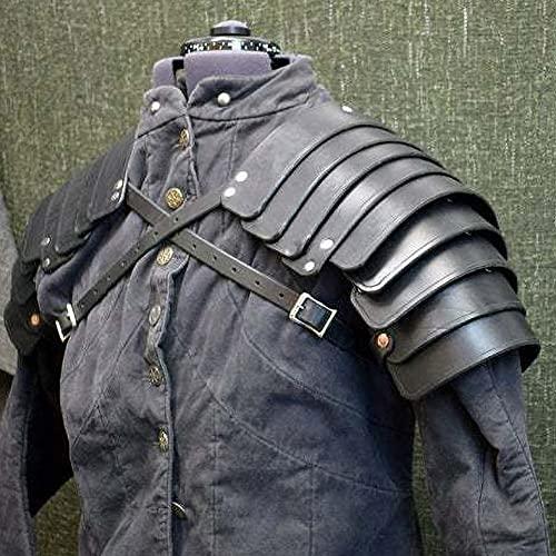 ZJJ Protector De Hombro Medieval Armadura De Hombro Retro Samurai Cuero Artificial Hebilla Espaldares Protector De Brazo Ajustable Caballero Cuerpo Arns De Pecho para Accesorio De Cosplay