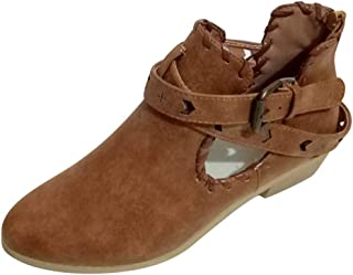 Leisure Rome Boots,Women's Solid Large Size Low Heels Buckle Short Shoes