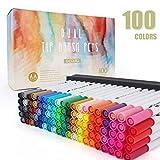 100 pennarelli colorati a doppia punta, pennarelli a punta fine e pennarelli colorati per libri da colorare per bambini e adulti, calendario, progetti artistici GC-100W