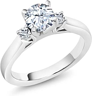 Gem Stone King 925 Sterling Silver White Created Sapphire and White Topaz 3-Stone Women's Engagement Ring 1.48 Ctw (Available 5,6,7,8,9)