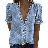 YANFANG Blusas de Mujer Elegantes,Camiseta Casual de Manga Corta con Encaje de Moda para Mujer Top de Color sólido con Cuello en V, XL,Blue