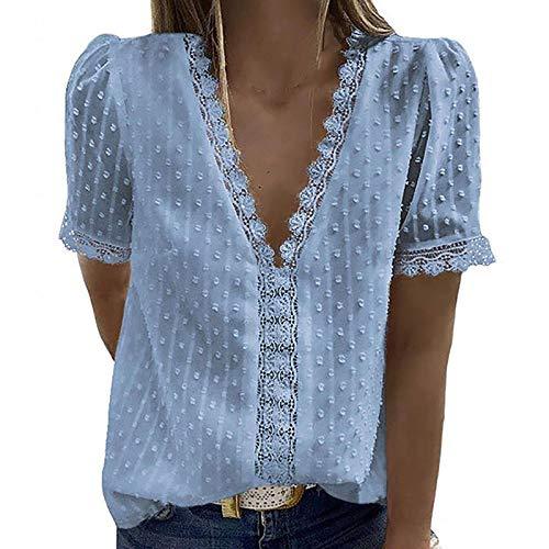YANFANG Blusas de Mujer Elegantes,Camiseta Casual de Manga Corta con Encaje de Moda para Mujer Top de Color sólido con Cuello en V, L,Blue