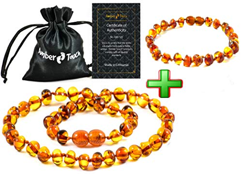 Baltic Amber Necklace and Amber Bracelet - Natural Amber from Baltic Region (13in. and 5.5in.) (Brown)