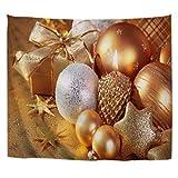 A.Monamour Tapices Dorado Champagne Color Brillantes Estrellas Bolas Velas Navidad Vacaciones...
