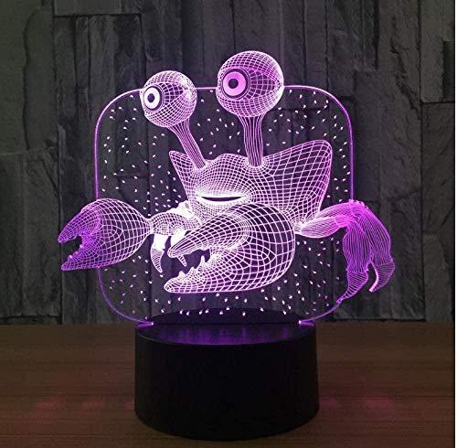3D LED Illusion LampCrab USB Lámpara de mesa multicolor para dormir Regalo innovador Decoración del hogar-16 color remote control