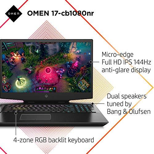 Product Image 1: OMEN 17 Gaming Laptop, NVIDIA GeForce RTX 2070, Intel Core i7-10750H, 16 GB DDR4 RAM, 512 GB PCIe NVMe SSD, 17.3″ 144Hz Full HD, Windows 10 Home, RGB Keyboard (17-cb1080nr, 2020 Model)