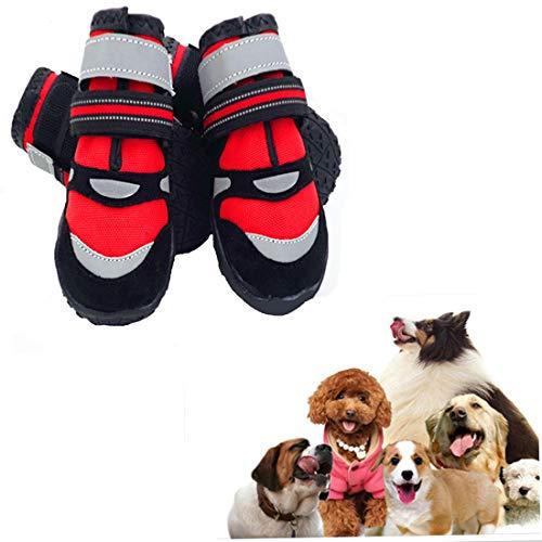 VICTORIE Zapatos Perro Botas Impermeable Antideslizante Lluvia Reflectante Invierno Otoño Nieve para Mediano Y Grandes Perros 4 Pedazo Rojo L