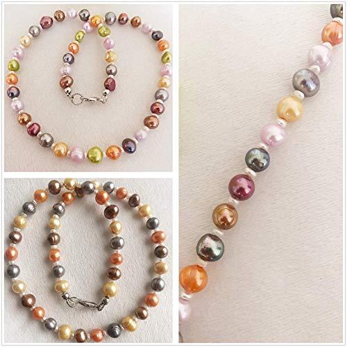 Damen kurze bunte Halskette aus Süßwasser Perlen, Frauen Perlenkette aus Zuchtperlen in Braun, Muttertagsgeschenk, Geschenk für Mama Frau Freundin