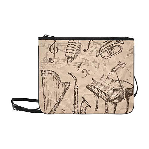 N\A Tag Handtasche Hand gezeichnete Musik Note und Piano Sax Harfe verstellbare Schultergurt Große Clutch Tasche für Frauen Mädchen Damen Cross Body Workout Bag Body Cross Taschen