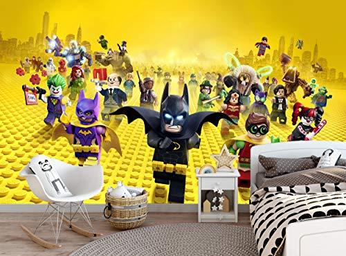 Mural de pared de Batman Lego para niños, niños, niños, adolescentes, dormitorio de adolescentes, papel pintado, decoración de pared, 366 cm de ancho x 254 cm de alto, murales de papel