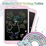 NEXGADGET Tableta de Escritura LCD 12 Pulgadas Pantalla Colorida Tableta Gráfica Dibujo Tecla de Bloqueo con Lápiz, 2 Baterías para Niños, Adultos, Oficina, Casa, etc.-Rosa