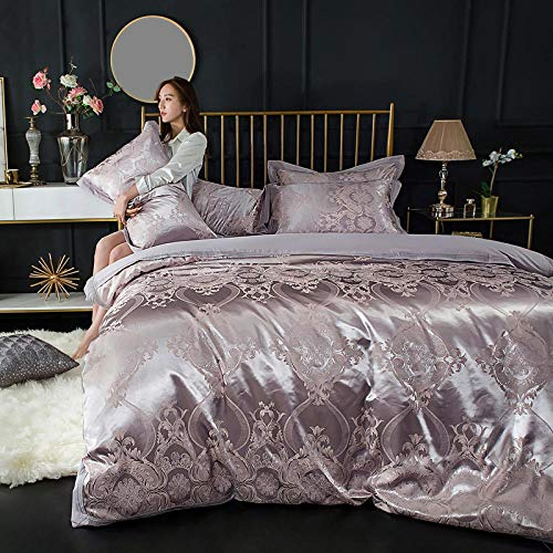 Queen Fitted Sheet Bedding Set,Cotton satin jacquard bed set silk bed linen duvet cover bedding luxury simple men and women gift pillowcases-I2.0mbed(4pcs)