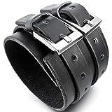 MunkiMix Alliage Genuine Leather Véritable Bracelet Bracelet Menotte Ton d'argent Noir Cordon Corde Réglable Convient 7~9 Pouce Homme