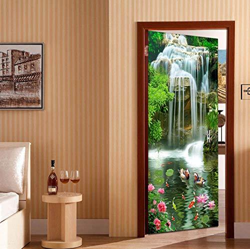 Zjxxm Photo Wallpaper 3D Waterfalls Nature Scenery Door Sticker Kitchen Living Room Waterproof Self-Adhesive Fireproof PVC Wall Papers-88cmx200cm