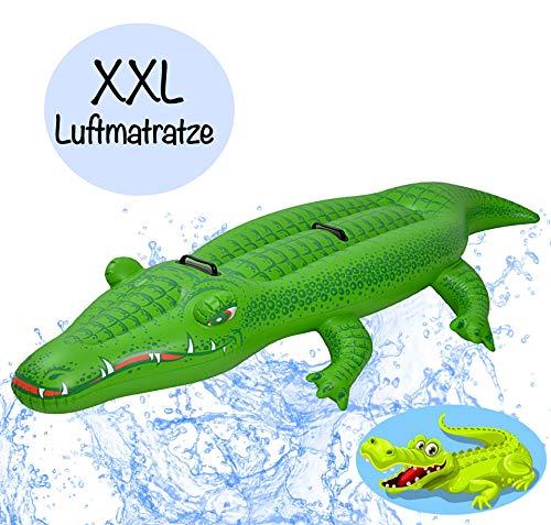 L+H Riesen XXL aufblasbares Krokodil Giant hochwertige Vinyl Luftmatraze | 200x110cm m. robusten Haltegriffen| Schwimmtier Badetier Reittier für Pool Strand Wasser max. 90kg für Kinder und Erwachsene