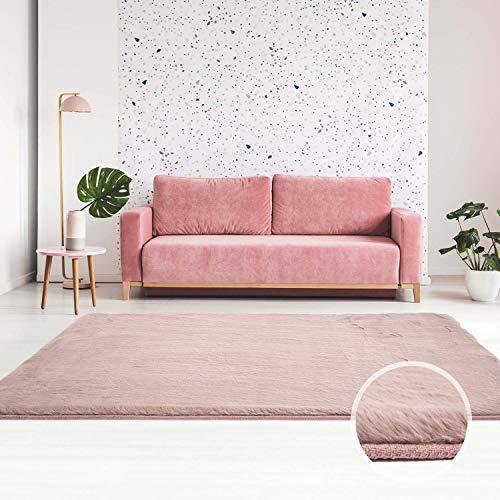 Qilim Tappeto Passatoia a pelo lungo in poliestere, Soft & Shine, tinta unita, rosa per soggiorno/camera da letto; dimensioni: 80 x 150 cm