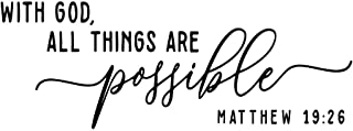 ZSSZ with God All Things are Possible Matthew 19:26 Bible Verse Quotes Wall Decal Vinyl Words Scripture Christian DIY Home Décor