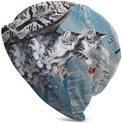 Cat Catching Hot Balloon Snow Mountain Premium Beanie-muts, uniseks, voor volwassenen om te klimmen
