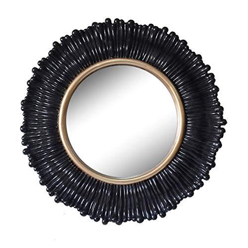 Vintage ronde muur spiegel zwart hars frame met gouden randen decor woonkamer opknoping ijdelheid spiegel