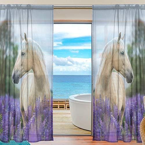 Bigjoke Vorhang für Fenster, durchsichtig, Blumenmuster, Tiere, Pferd, Küche, Wohnzimmer, Schlafzimmer, Büro, Voile, 2 Stück, multi, 55x84 inches