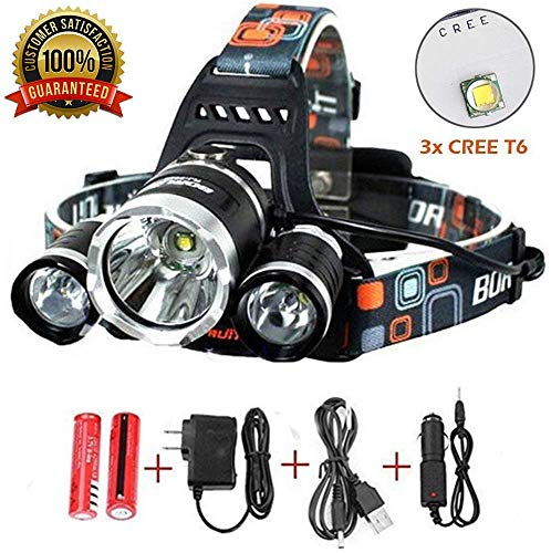 Best Sellers LED Headlamp 20000 Lumen flashlight IMPROVED LED- Rechargeable 18650 headlight flashlights Waterproof Hard Hat Light Camping Running headlamps Super Bright Headlight (Silver)