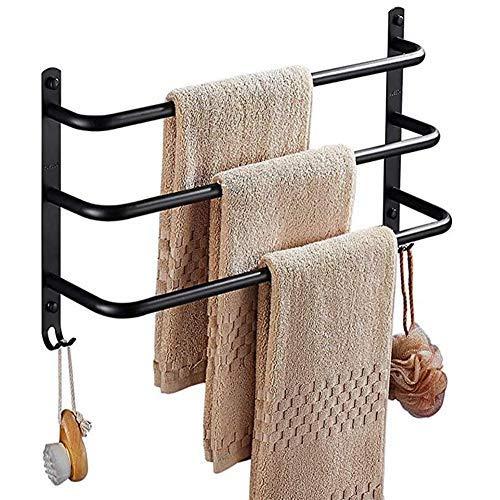Barra de servilleta negra de 3 capas, acero inoxidable 304, barra de toalla, baño de tres capas, barra para colgar, toalla de baño de la barra, 43 cm, 53 cm, 63 cm