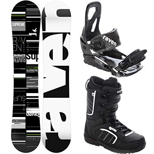 RAVEN Snowboard Set: Snowboard Supreme Green + Bindung s200 Black + Boots Target (163cm Wide + s200 Black M/L + Target 45)