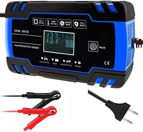 Metdek Cargador de batería de coche, 12 V 24 V Maintainer, cargador automático inteligente de batería de 3 niveles de carga con pantalla LCD y modo de microprocesador, adecuado para baterías húmedas