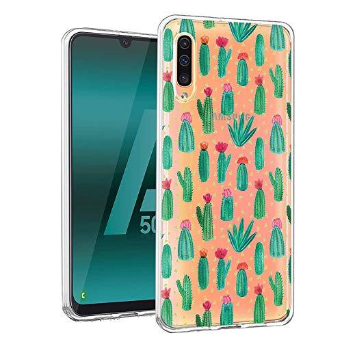 ZhuoFan Funda Samsung Galaxy A50, Cárcasa Silicona Transparente con Dibujos Diseño Suave TPU Gel Antigolpes de Protector Piel Case Cover Bumper Fundas para Movil Samsung A50 2019, Cactus