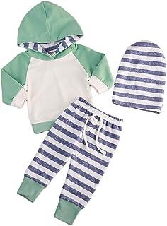 Pantaloni T TALENTBABY Set di Abbigliamento per Bambine per Neonato Neonato Top a Righe Cappello Set Completi