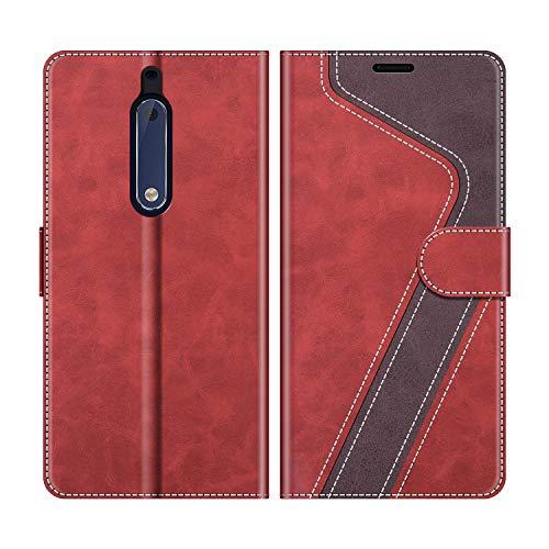 MOBESV Funda para Nokia 5, Funda Libro Nokia 5, Funda Móvil Nokia 5 Magnético Carcasa para Nokia 5 Funda con Tapa, Rojo
