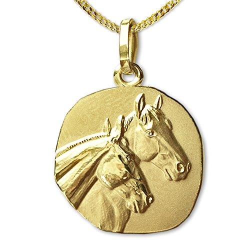 Clever Schmuck Set gouden hanger 2 paarden als medaille paardenpotten deels mat 333 goud 8 karaat en vergulde ketting 45 cm in etui