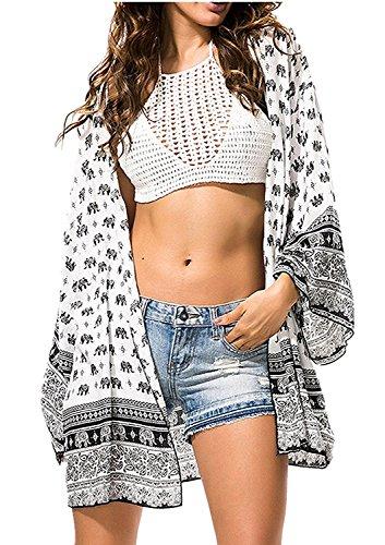 Uniquestyle Damen Sommer Boho Chiffon Kimono Stil Gedruckt Tops Jacke Cardigan Blusen Beachwear(One Size Elephant)