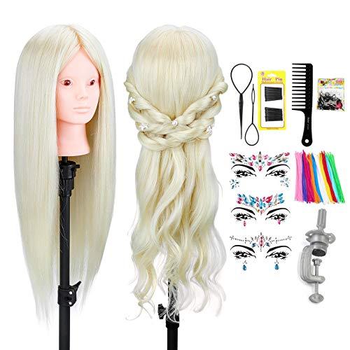 Neverland Friseur Kopf, 24 Zoll 70% echte Haar Mannequin Training Styling Puppe Kopf mit Make-up für Kinder Üben Flechten + Twist Stick + Gesicht Edelsteine + Clamp