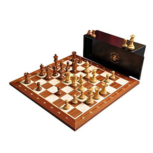 The Library Grandmaster Chess Set, Box, and Board Combination (Golden Rosewood and Boxwood)