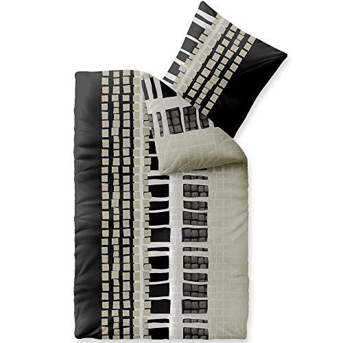 CelinaTex Style Daniela Linge de lit Microfibre Rayures Noir Beige Blanc 155 x 220 cm