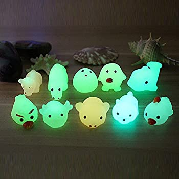 Squishy Stress Relief Toys for Kids Adults Cute Mini Luminous Mochi Animals Squeeze Healing Toy Kawaii Glow in The Dark Mochi Squishies Sensory Funny Stress Toy for ADD ADHD Autism  Random 1PC
