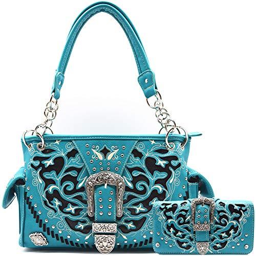 Silberne Schnalle Western Stil Pailletten versteckt tragen Geldbörse Country Handtasche Frauen Schultertasche Brieftasche Set, (Türkis Set), Large