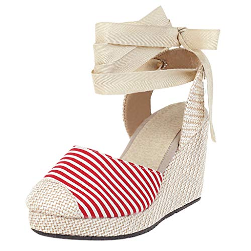 Find Discount KCPer Women's Espadrille Crisscross Platform Wedges Heel Lace Up Sandals Bohemian Clos...